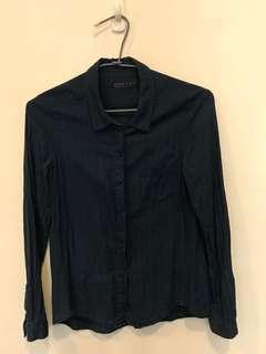 🚚 正品Zara深藍色亞麻長袖襯衫  OL襯衫上衣