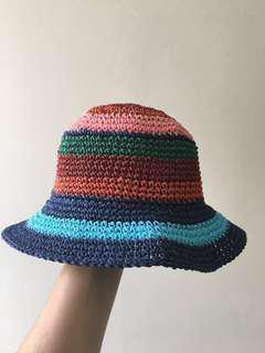 Multi coloured straw hat