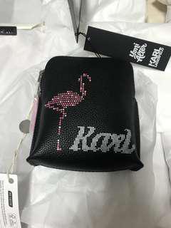 全新Chanel設計師卡爾Karl牛皮大零錢包(化妝包、萬用包)