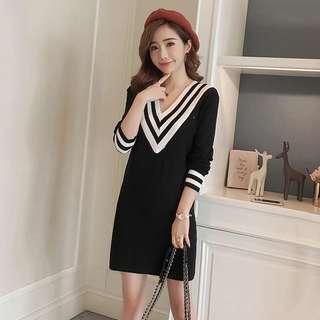 Stripes V Neck Dress
