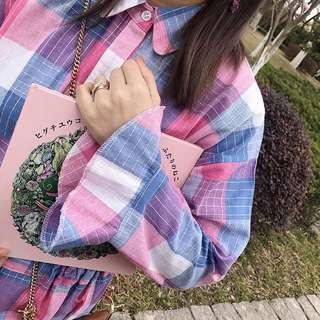 🚚 粉紫色格子長袖洋裝