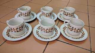 Cups and saucers (with coffee bean pic)