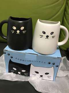 全新黑貓白貓情侶杯