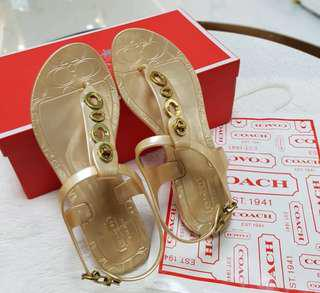 Coach Jelly Sandals Gold S'6 ❤BIG SALE P6500 ONLY❤ Slightly used. Good as new condition  With box and paperbag Swipe for detailed pics  #luxonlinephcoach