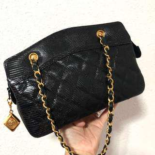 Authentic Chanel Lizard Skin Mini kelly sling with 24k Gold Hardware