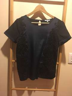 Navy and Black Lace Top
