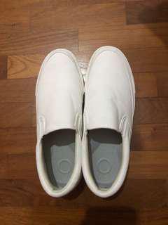 Muji white loafers