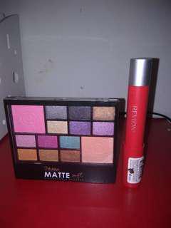 Blush on + eyeshadow mukka matte. Baru belum pernah dipakai + lipstik revlon colorburst