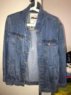 Denim Jacket with Embroidered Art