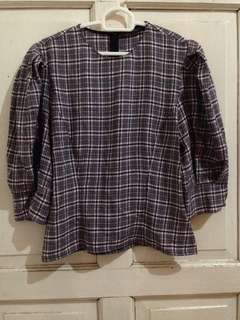 Zara houndstooth blouse
