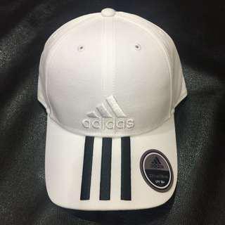 ADIDAS CAP 可調式 運動帽子 愛迪達 老帽 電繡 刺繡 三條線 白色 BK0806