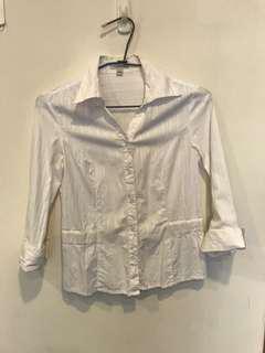 🚚 Bossini七分袖白襯衫 OL襯衫上衣