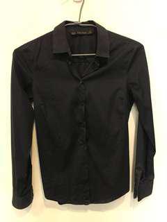 🚚 正品Zara黑色彈性防皺長袖襯衫  OL襯衫上衣