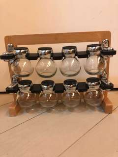 廚房用玻璃調味樽連木架套裝