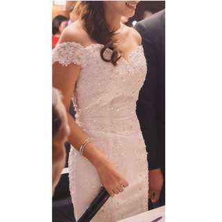 Wedding gown off shoulder
