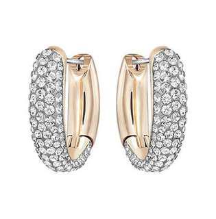 Swarovski Circlet Hoop Pierced Earrings, Small, Gray, Mixed Plating