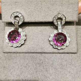 amethyst Dangling Earrings in 14k WG with dias