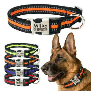 Customize Reflective Collar W Laser Deep Engraved Buckle For Small Medium Large dogs & Cats