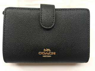New Coach black medium cross grain leather wallet
