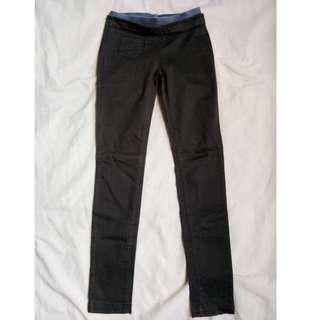 Garterized Mid Waist Pull-Up Gray Jeans