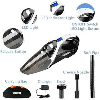 1421. Handheld Vacuum, WELIKERA 12V 100W Hand-held Cordless Vacuum Cleaner, Portable Pet Hair Vacuum, Cordless Rechargeable Vacuum Cleaner with Stainless Steel Filter, with A Carrying Bag, Black