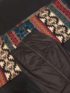 Bardot leather zip midi skirt