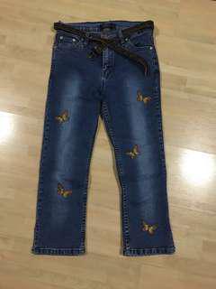3/4 length butterfly denim jeans