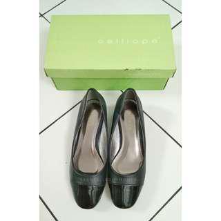 calliope black golden heels