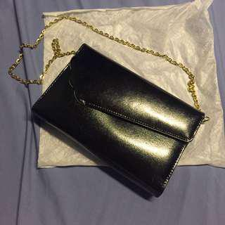 Black Sling bag with removable gold chain