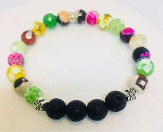 Plated Agate and Lava Stone Diffuser Bracelet, Free Postage