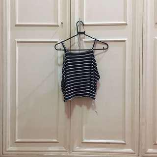 blue and white stripes halter top