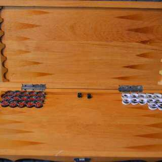 backgammon-pieces are carved, hand-made. Size 70 by 70