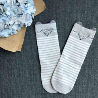 Grey Sleeping Fox - Animal Knee Length Socks