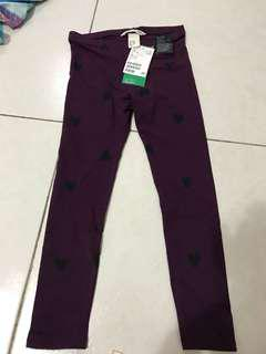 H&m legging purple with black heart size 4