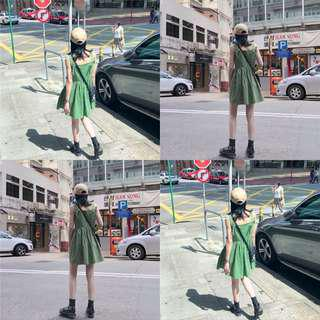 軍綠色綁帶洋裝👗
