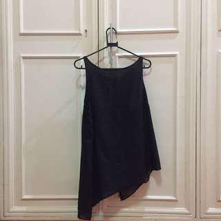 metaphor long black sleeveless top