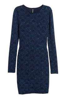 H&M Divided Navy Glitter Backless Dress