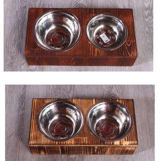 (New!) wood pet bowl set elevated big bowl