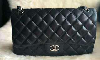 Authentic Chanel classic flap bag jumbo size