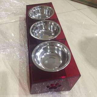 (New!) acrylic pet bowl 3 bowl elevated tilted