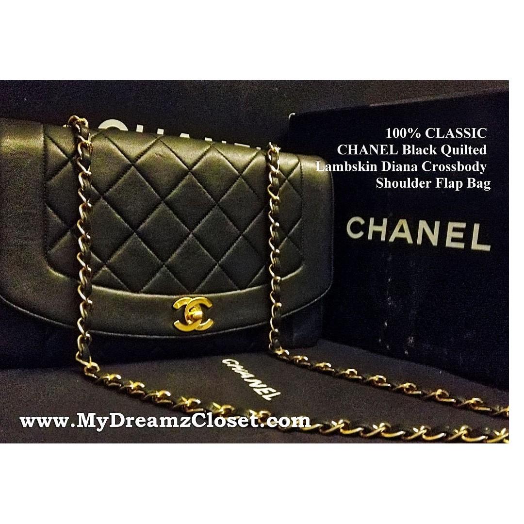 76080df1ce4 ALMOST FULL SET CHANEL Black Lambskin Diana Crossbody Shoulder ...