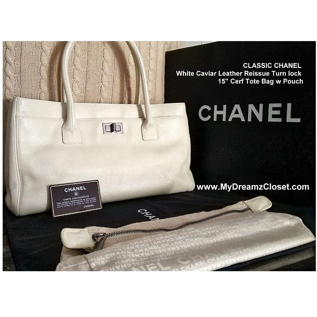 "FULL SET CHANEL White Caviar Leather Reissue Turn lock 15"" Cerf Tote Bag w Pouch"