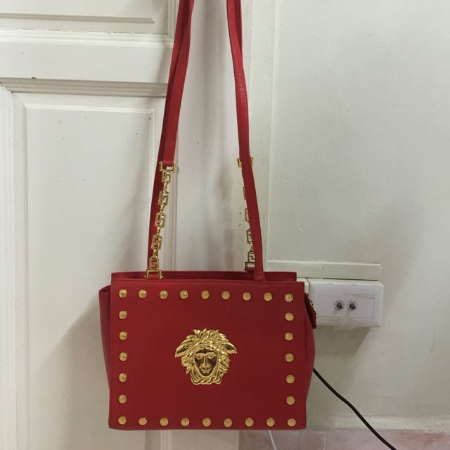 Authentic Gianni Versace Medusa Chain Shoulder Bag Red Gold Leather Vintage Luxury Bags Wallets On Carou