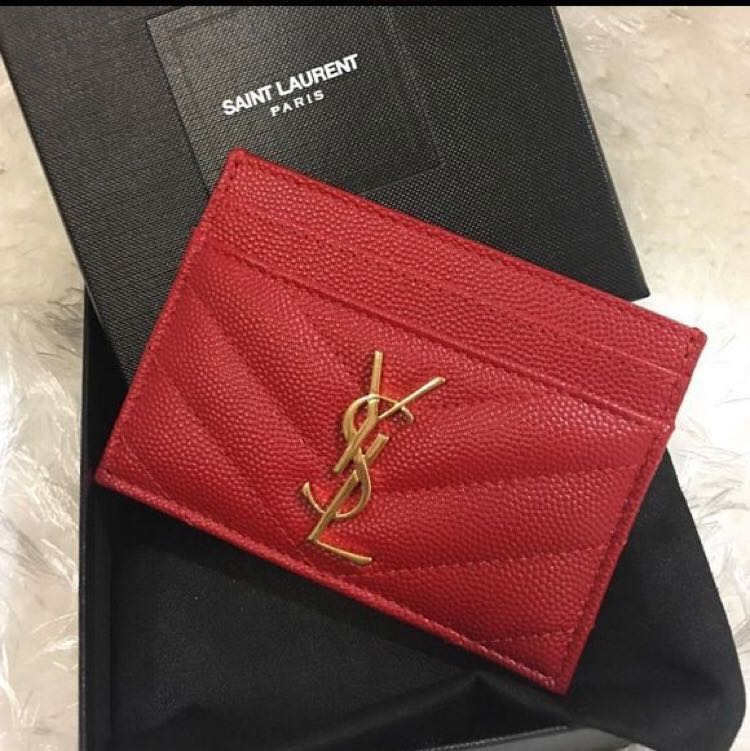 9247763995c AUTHENTIC YSL RED CARD HOLDER, Luxury, Bags & Wallets, Wallets on ...