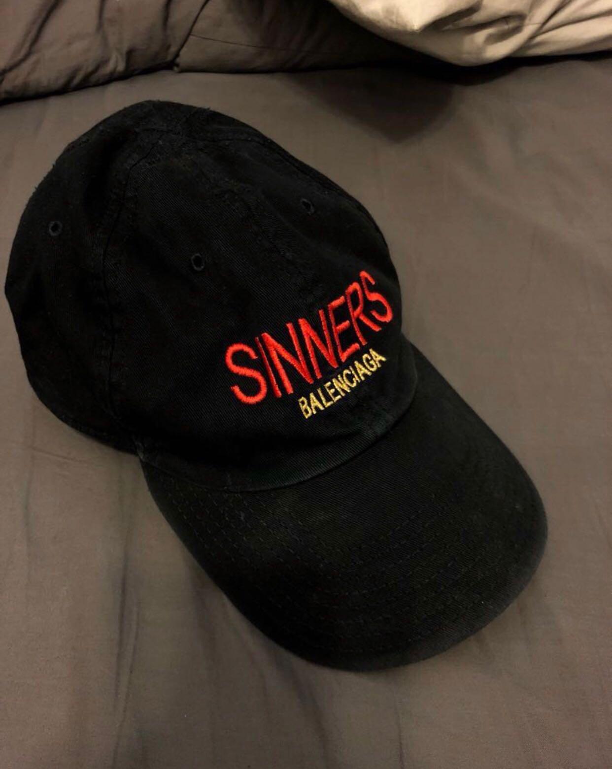 84590a77 Balenciaga Sinners Cap, Men's Fashion, Accessories, Caps & Hats on Carousell