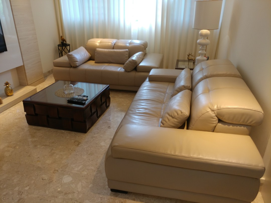 Picture of: Beige Cream Colour Faux Leather Sofa Set Furniture Sofas On Carousell