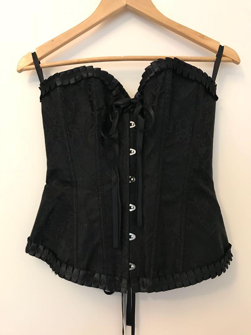 Black lace back corset