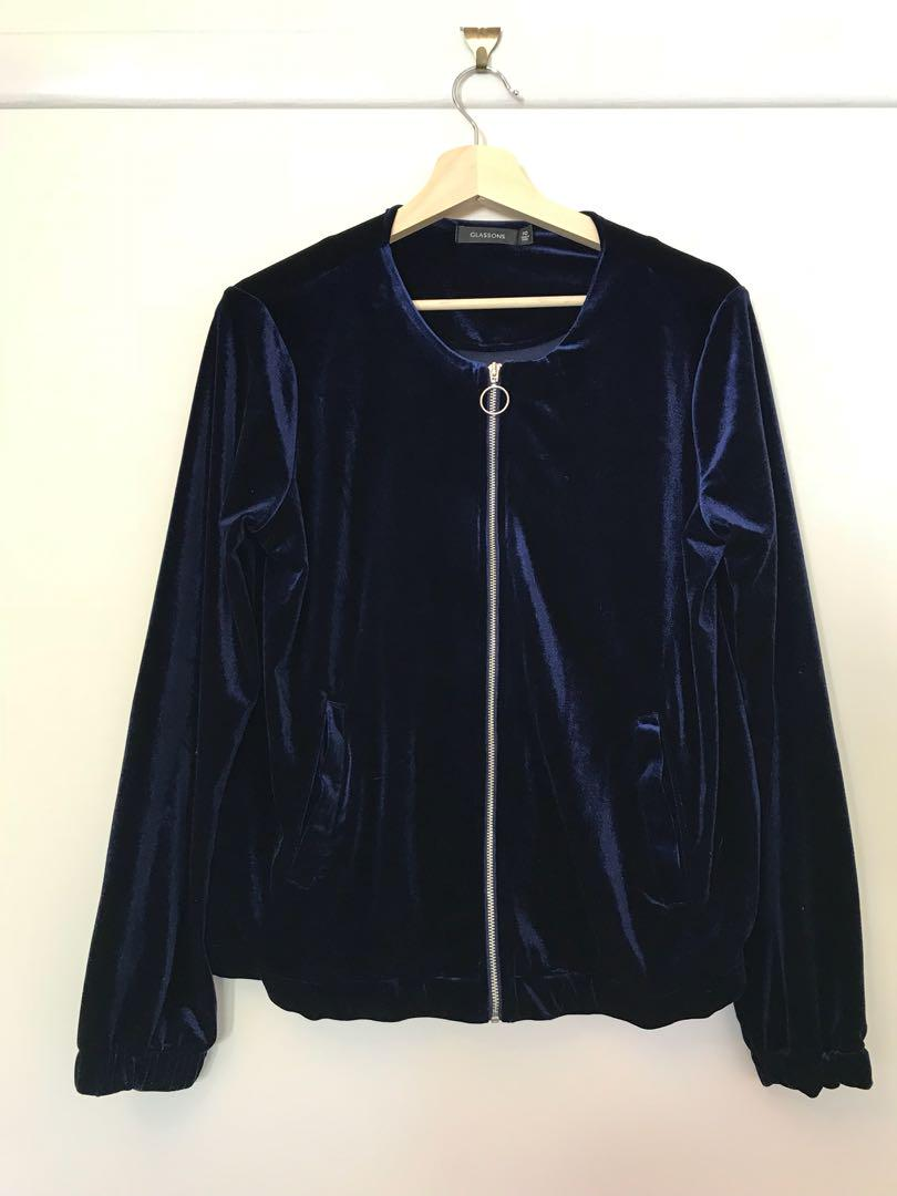 Blue Velvet Bomber Jacket