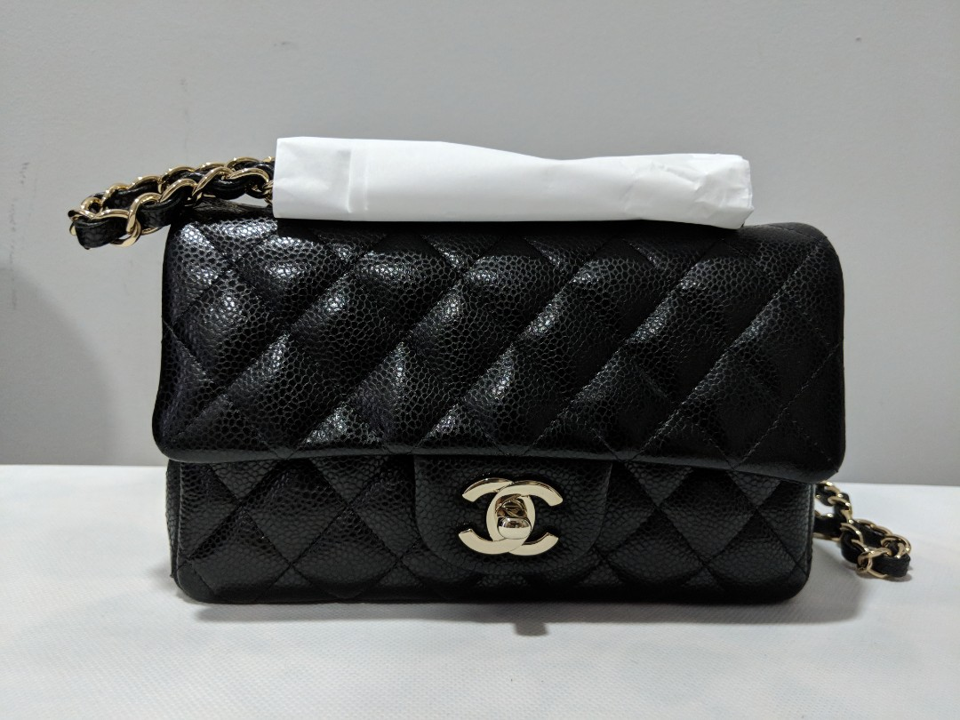 99e1db6e22f2 BNIB Authentic Chanel Mini Rectangular in Black Caviar Leather and ...