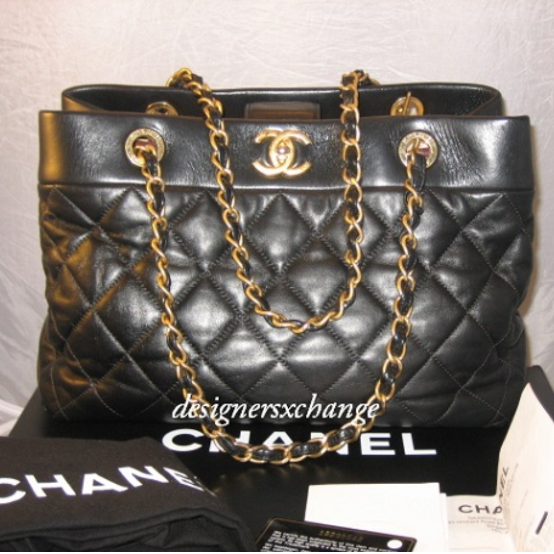3246d05246fc Chanel Black Shopping Tote with Matte Gold Hardware with Spore Chanel  receipt (A66415Y0817394305)